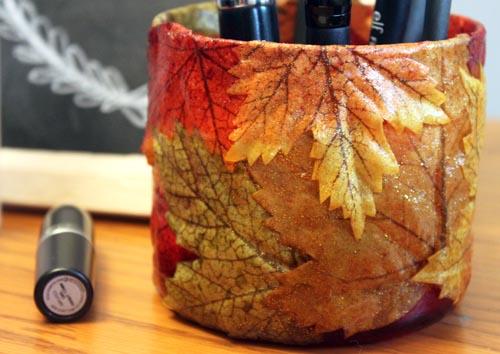 DIY Fall Themed Brush Holder