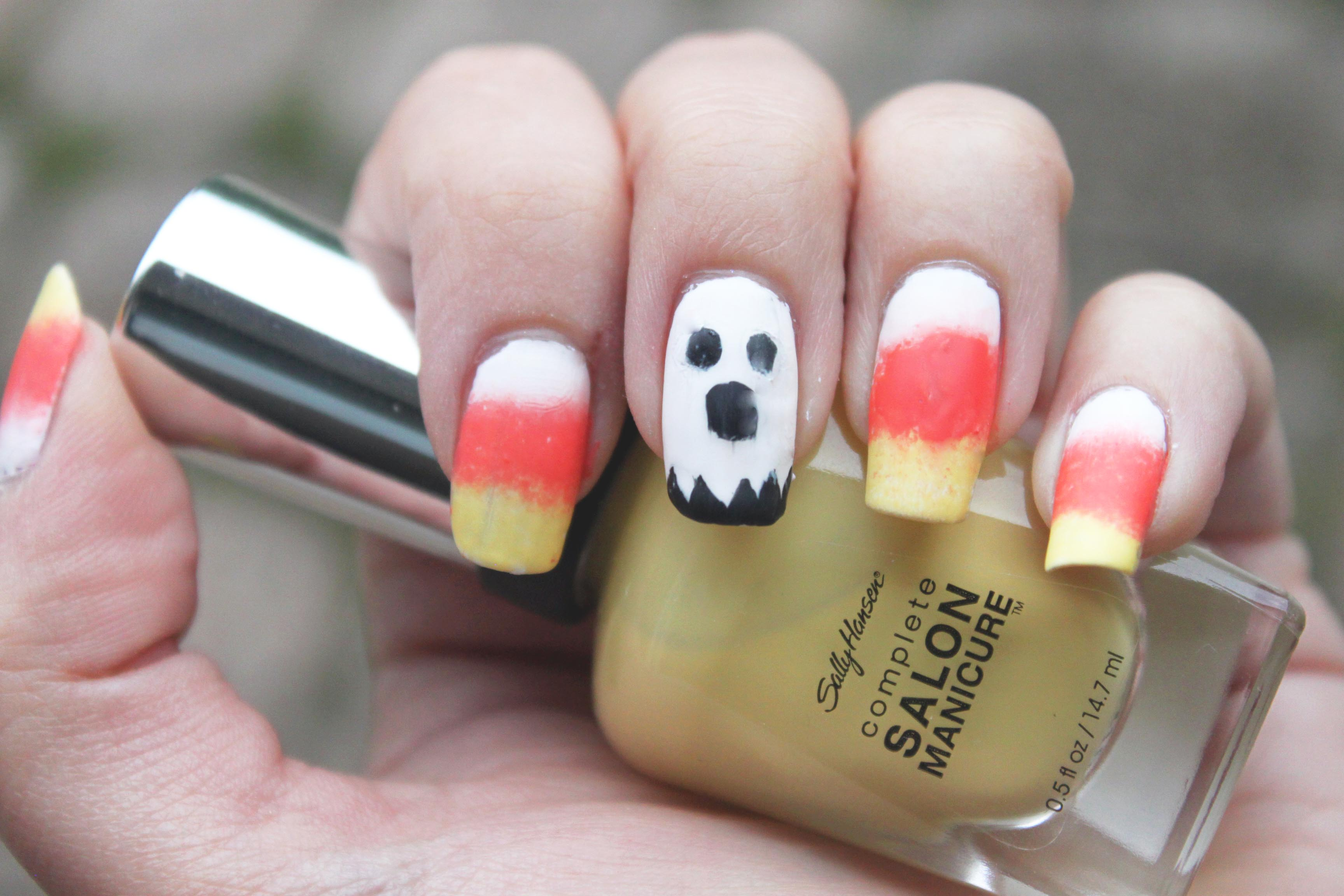 Ombre Candy Corn and Ghost Halloween Nails