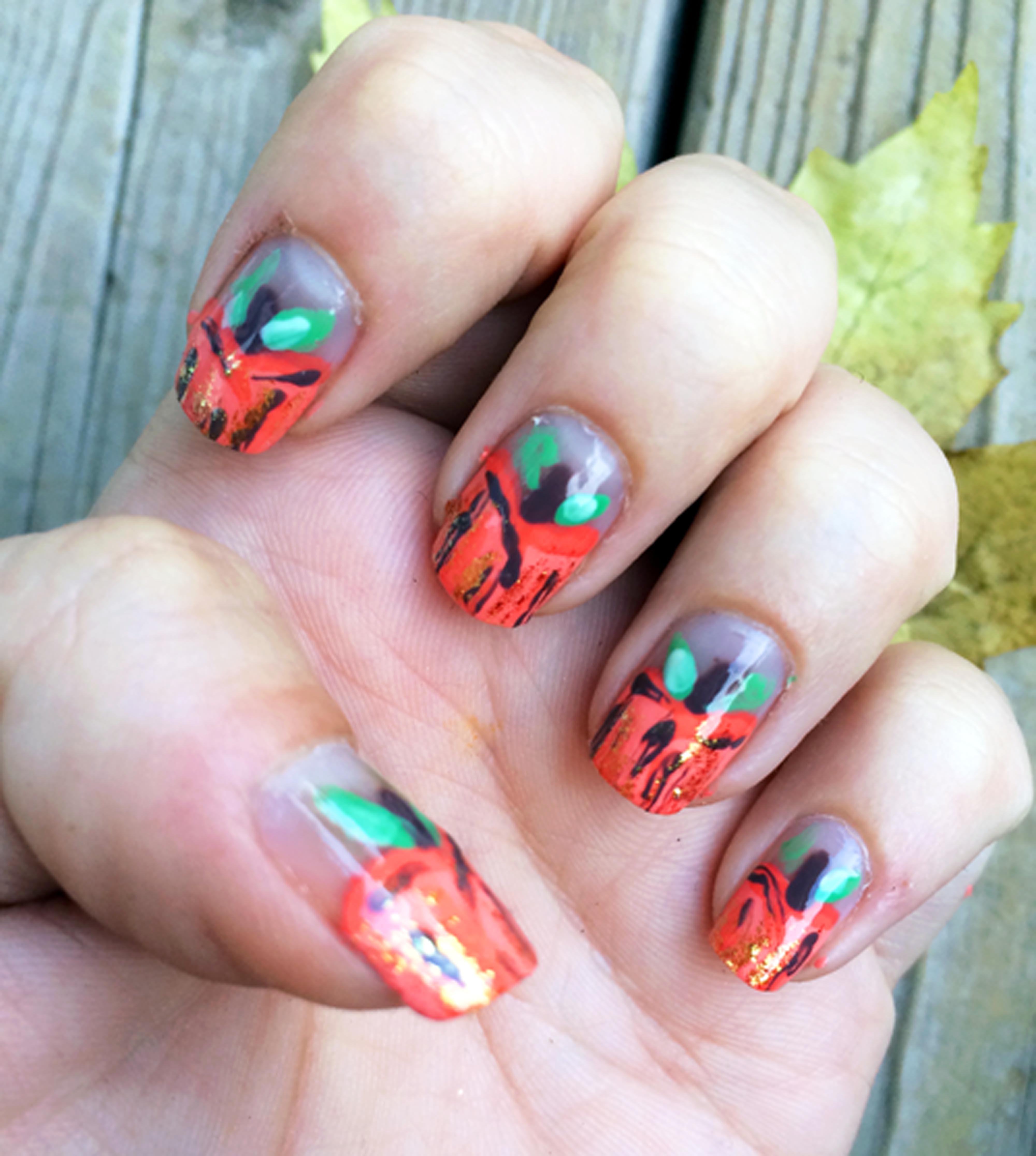Abstract Pumpkin Nails