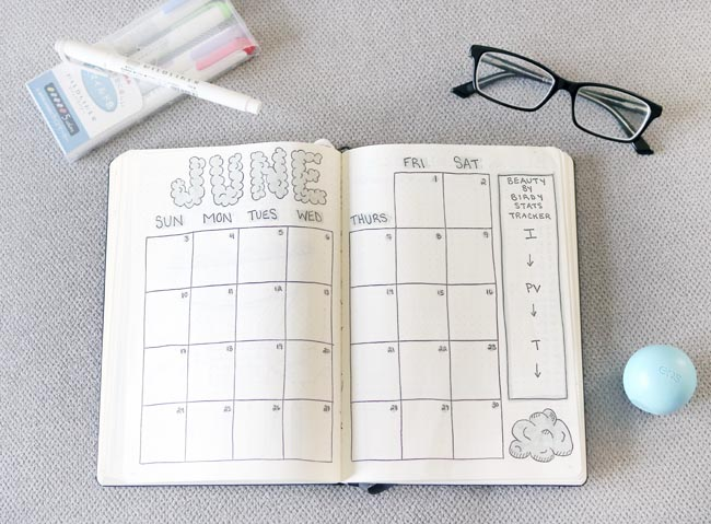 June Bullet Journal Calendar Spread (Cloud Theme)