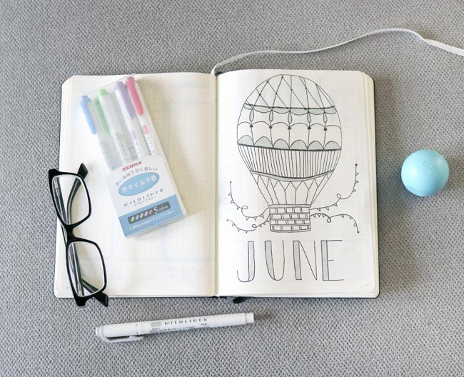 June Bullet Journal Cover Page With Hot Air Balloon