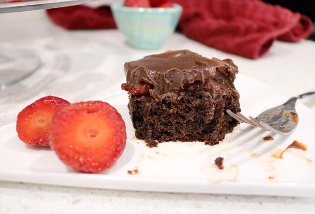 Healthy Chocolate Covered Strawberry Brownies