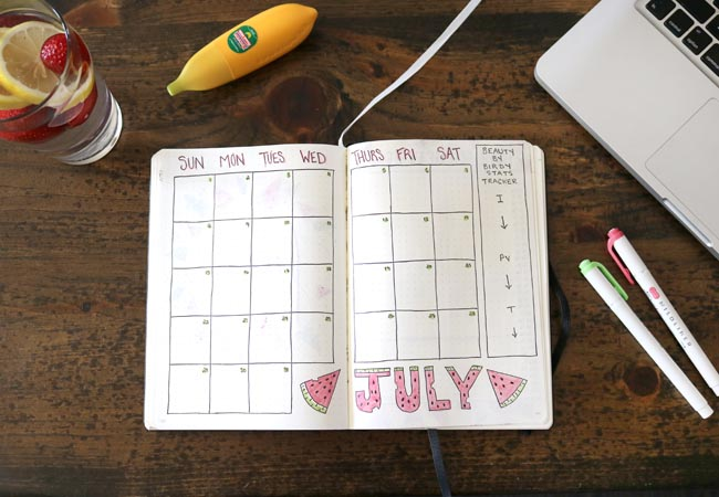 July Bullet Journal Calendar Spread - Watermelon Theme