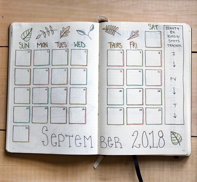September 2018 Bullet Journal Calendar Spread