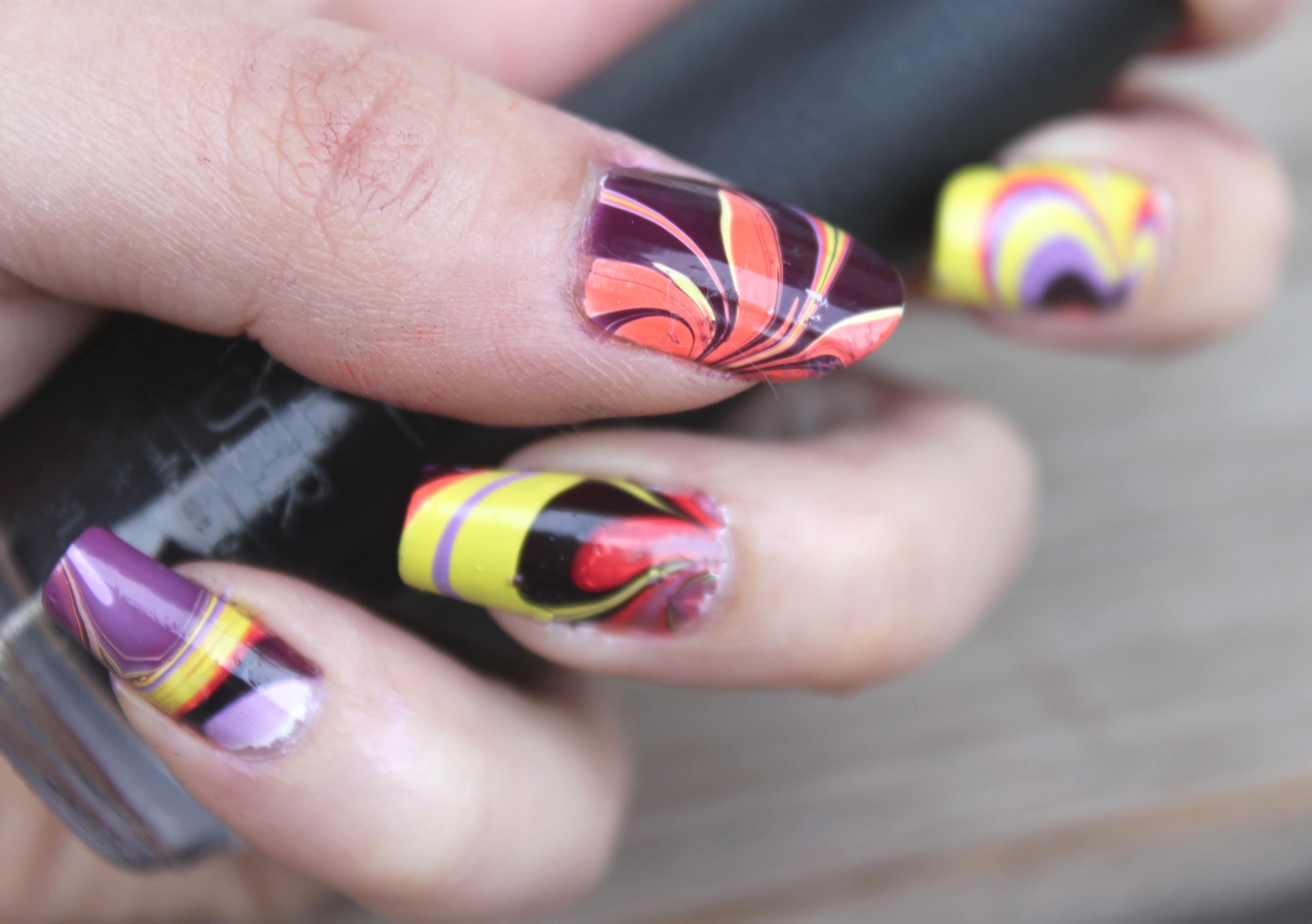 Halloween Coloured Marble Nails